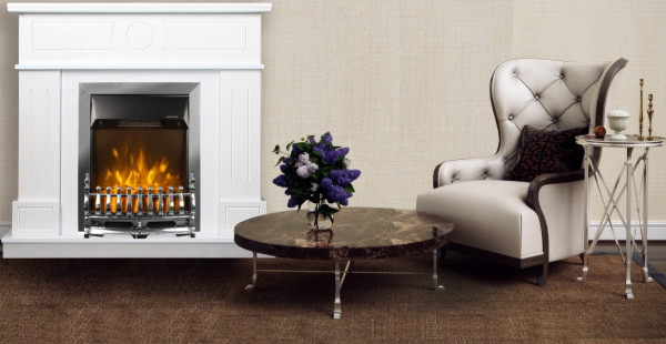 Ambasador & Galileo silver electric fireplace - photo
