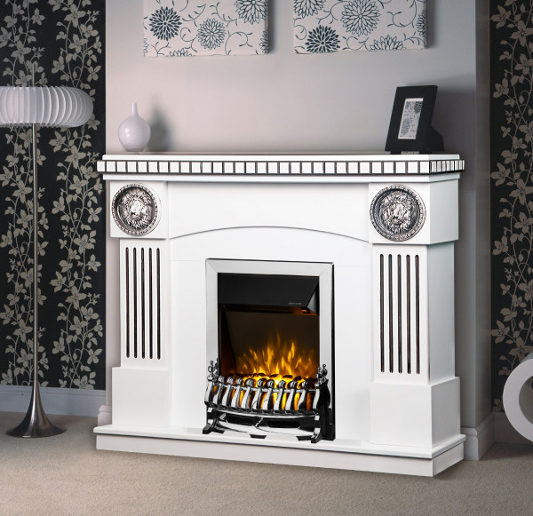 Prometeu & Galileo silver electric fireplace - photo