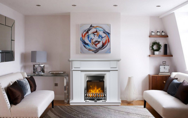 Marina & Galileo silver electric fireplace - photo