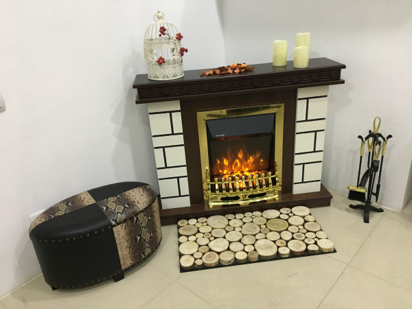 Nazarii mini & Galileo gold electric fireplace - photo