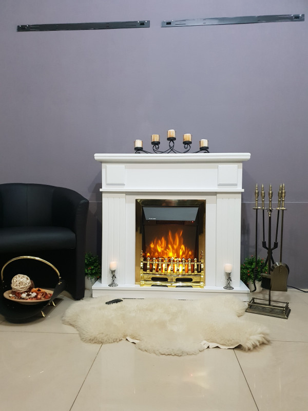 Marina & Galileo gold electric fireplace - photo