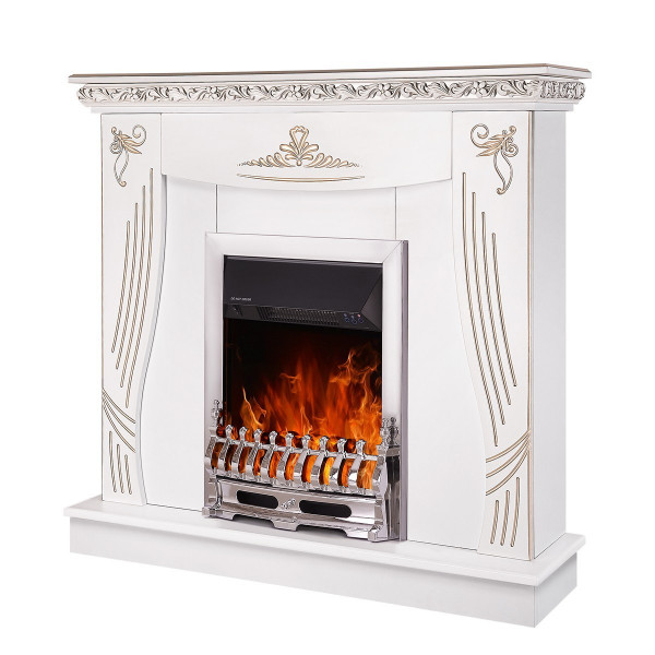 Napoli & Galileo silver electric fireplace - photo